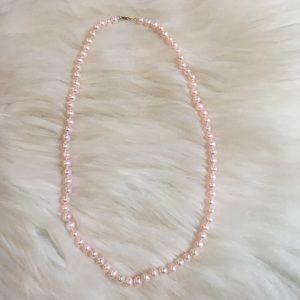Pink pearl necklace with JCM 10KT gold clasp